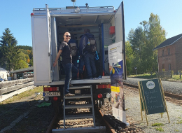 Demonstration des Virtuellen Bahnfahrens in Testfahrzeuge RailDrive des DLR