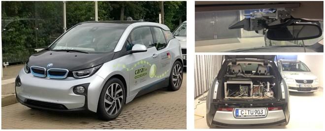 Automatisierter Versuchsträger BMW i3; integrierte Umfeldsensorik (oben, 3D LiDAR, Auswahl) und Rechentechnik für Sensorfusion und automatisierte Fahrfunktionen (rechts unten)