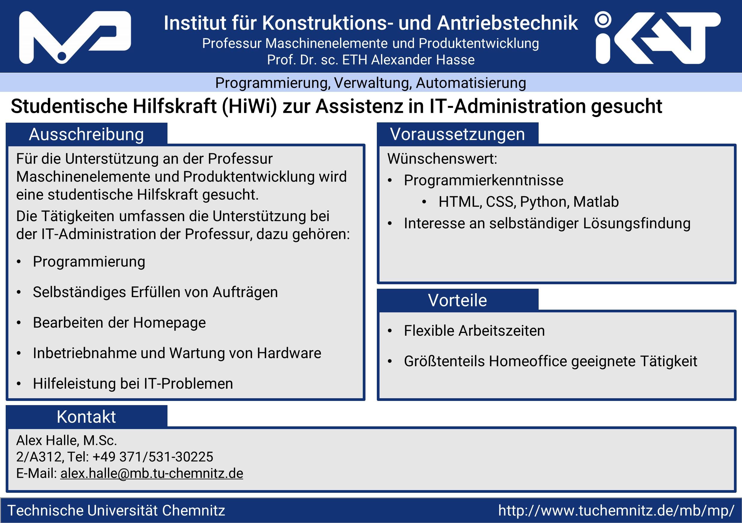 Studentische Hilfskraft (HiWi) zur Assistenz in IT-Administration gesucht