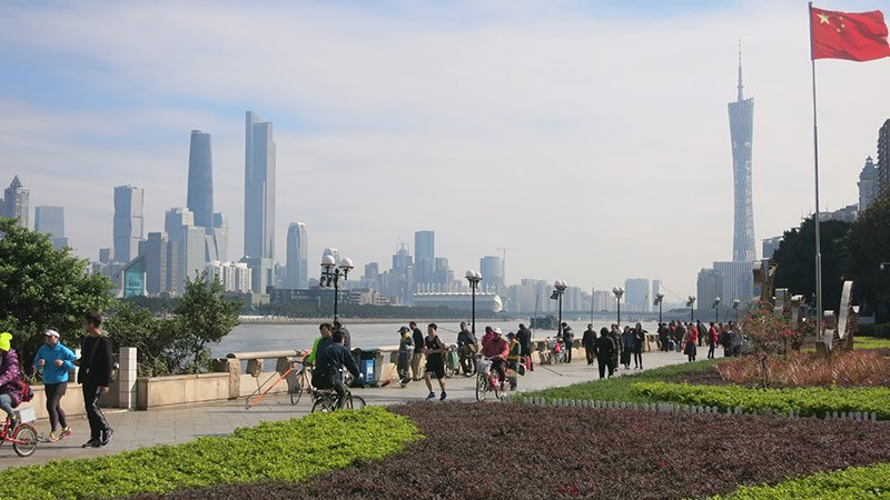 View from SYSU North Gate [along Pearl River] to Guangzhou New Town Centre.
