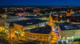 Panorama shot of the city of Chemnitz during the blue hour.