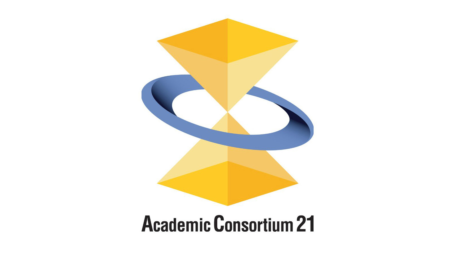 "Logo of the ""Academic Consortium for the 21st Century"" consisting of two pyramids and a ring"