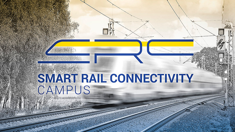 Logo of the project with a train in the background