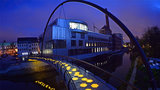 Illuminated bridge with honeycomb structures that spans the Chemnitz river