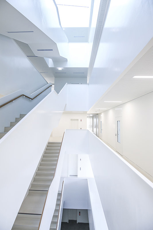 A metal staircase stretches vertically through the building.