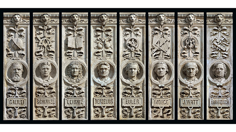 These high relief portrait heads complete the elaborate façade.