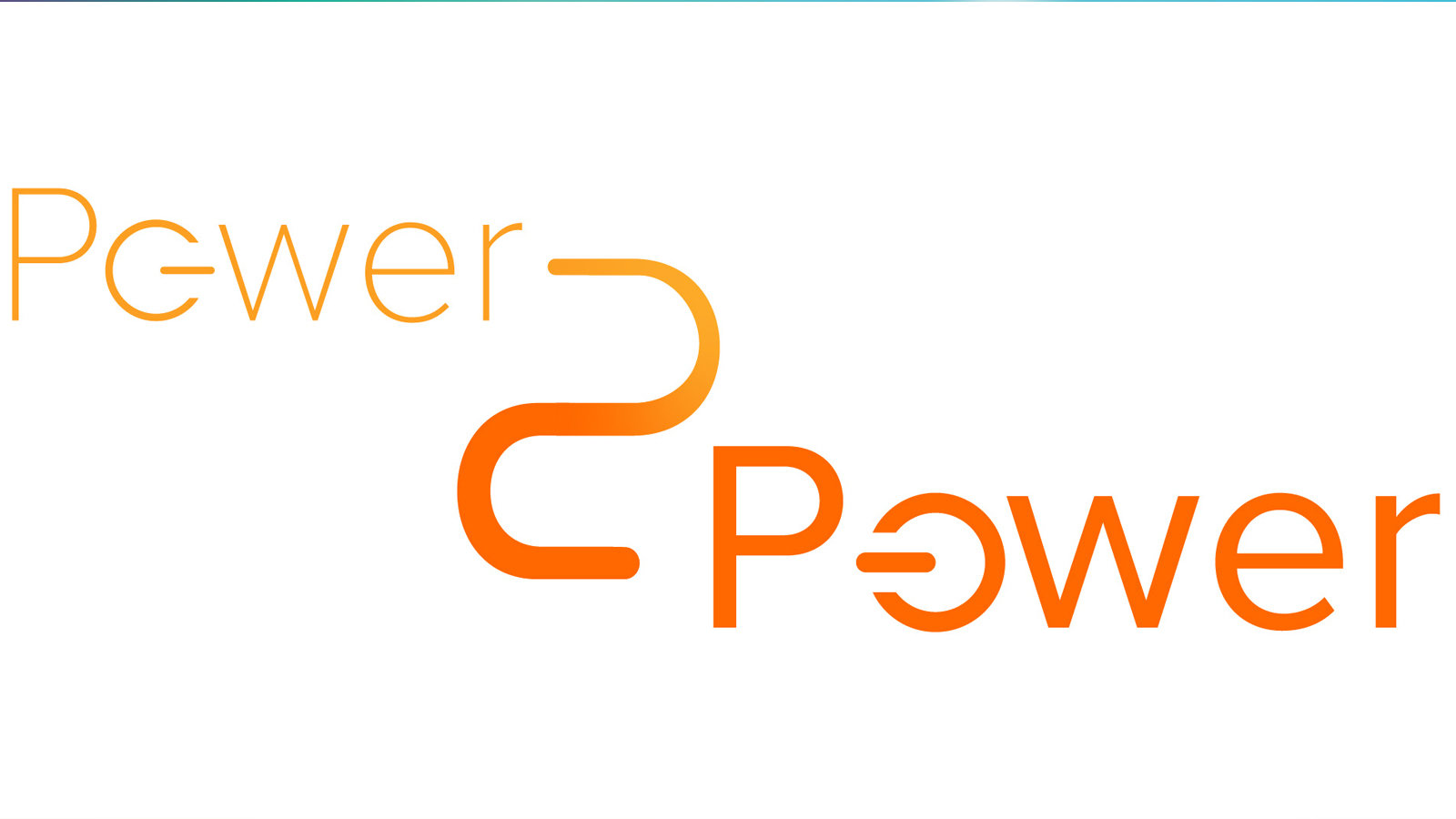 """Power2Power"" logo in curved letters."