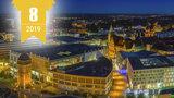 Luftbild der Innenstadt von Chemnitz zeigt Häuser bei Nacht