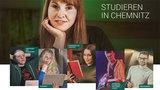 Vier junge Frauen und zwei junge Männer in verschiedenen Studiensituationen lächeln.