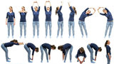 A woman demonstrates fourteen different stretches.