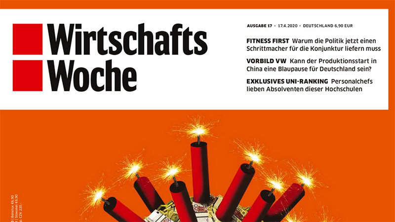 "Cover of the magazine WirtschaftsWoche. Headlines read: ""Fitness First,"" ""Vorbild VW,"" and ""Exklusives Uni-Ranking."""