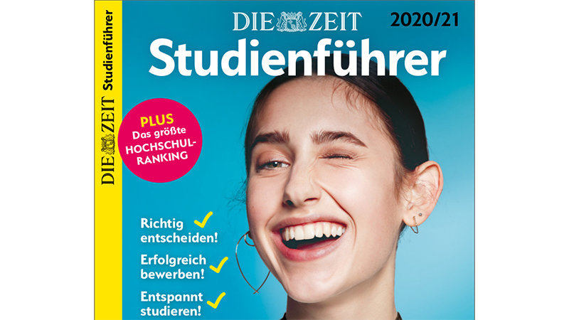 "Cover of the magazine ""Die Zeit Studienführer"" with a photo of a woman smiling broadly while winking."