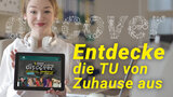 "A young woman holds a tablet computer with the discover@home website. The graphic next to her reads ""Entdecke die TU von Zuhause aus"" (""Discover Chemnitz University of Technology from home."")"