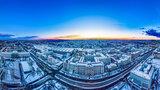 Luftbild vom schneebedeckten Innenstadt-Campus