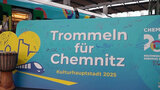 "A poster with the words ""Trommeln für Chemnitz"" (Drumming for Chemnitz)."