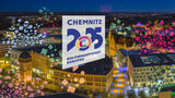 Chemnitz 2025 logo projected over the city center of Chemnitz.