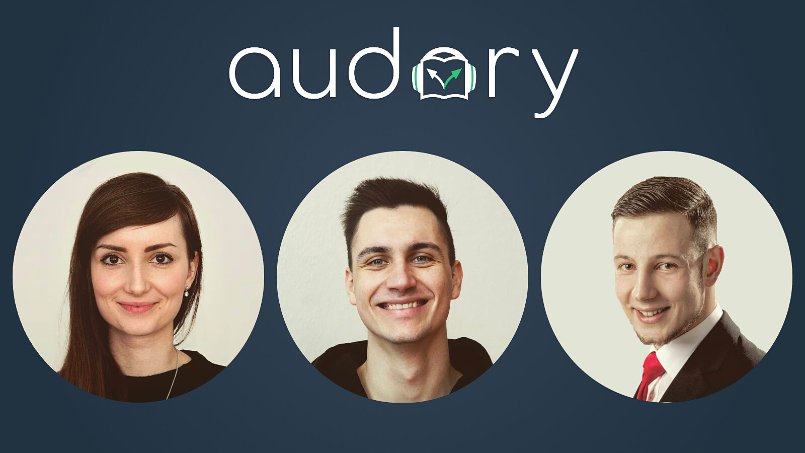 "A woman and two men under the heading ""audory."""