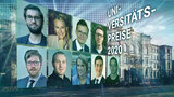 "Graphic showing the prize winner's headshots along with the caption ""University Prize 2020"""