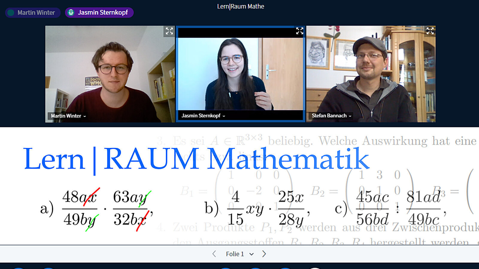 Screenshot from a video conference with three participants. Part of the screen shows a whiteboard with mathematical formulas.