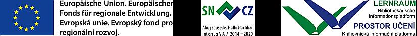3 Logos: Förderfonds EFRE, EU-Projekt SN-CZ2020, Projekt Lernraum Bibliothekarische Informationsplattform
