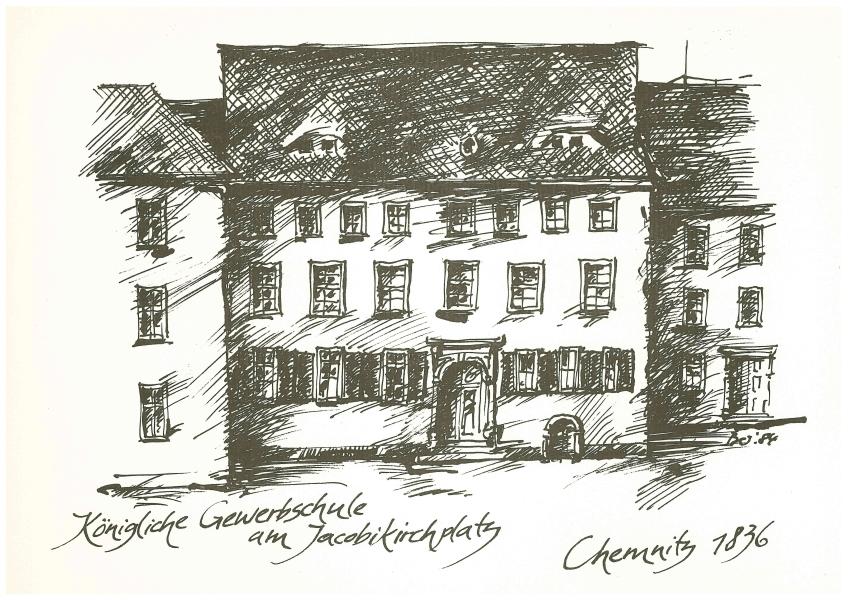 Abbildung der Königliche Gewerbschule am Jakobikirchplatz © Universitätsarchiv,          Künstler: Günter Bernitz
