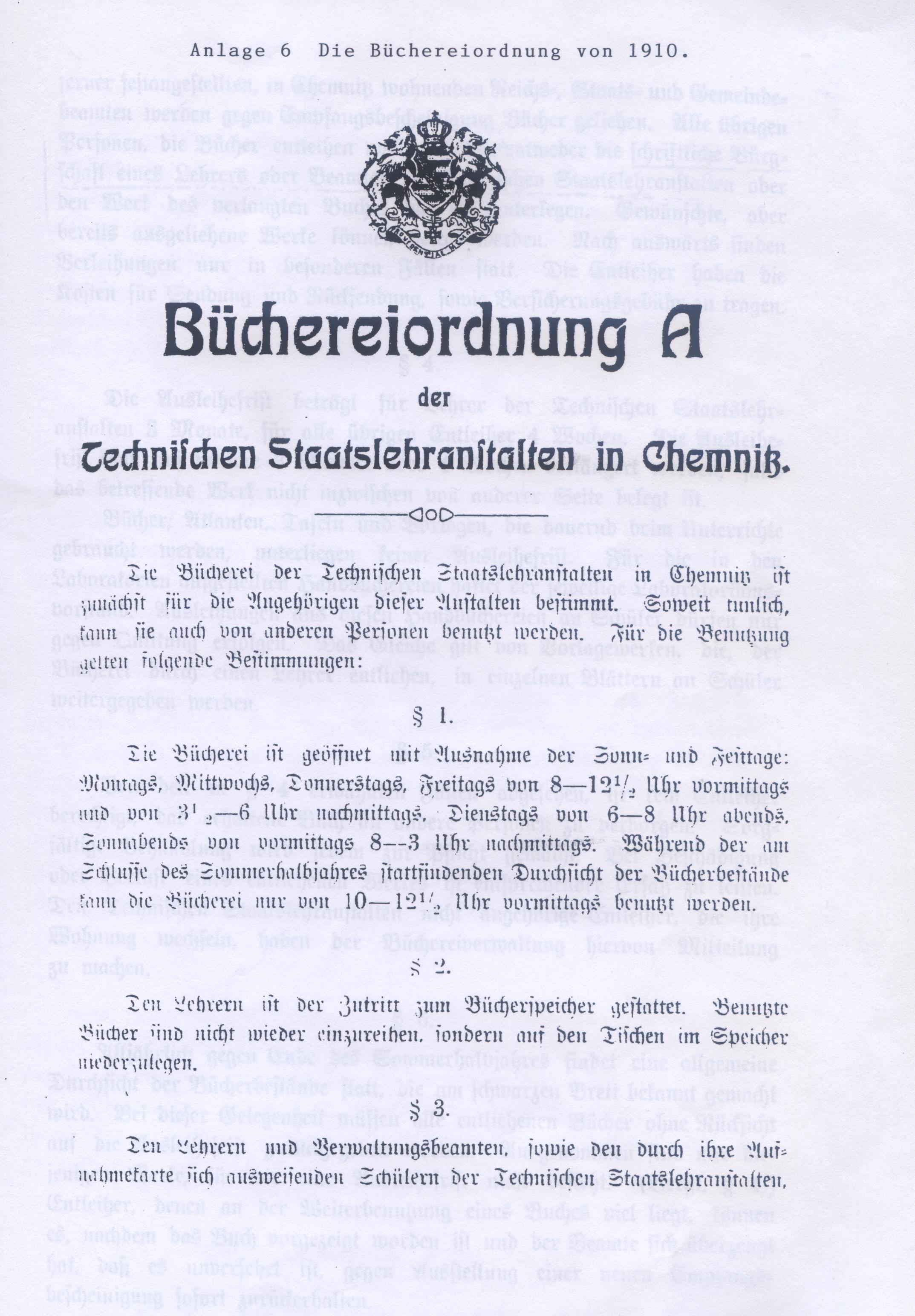 Abbildung der Büchereiordnung von 1910