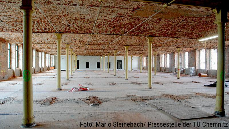 Blick in eine Etage der Aktienspinnerei mit gußeisernen Säulen