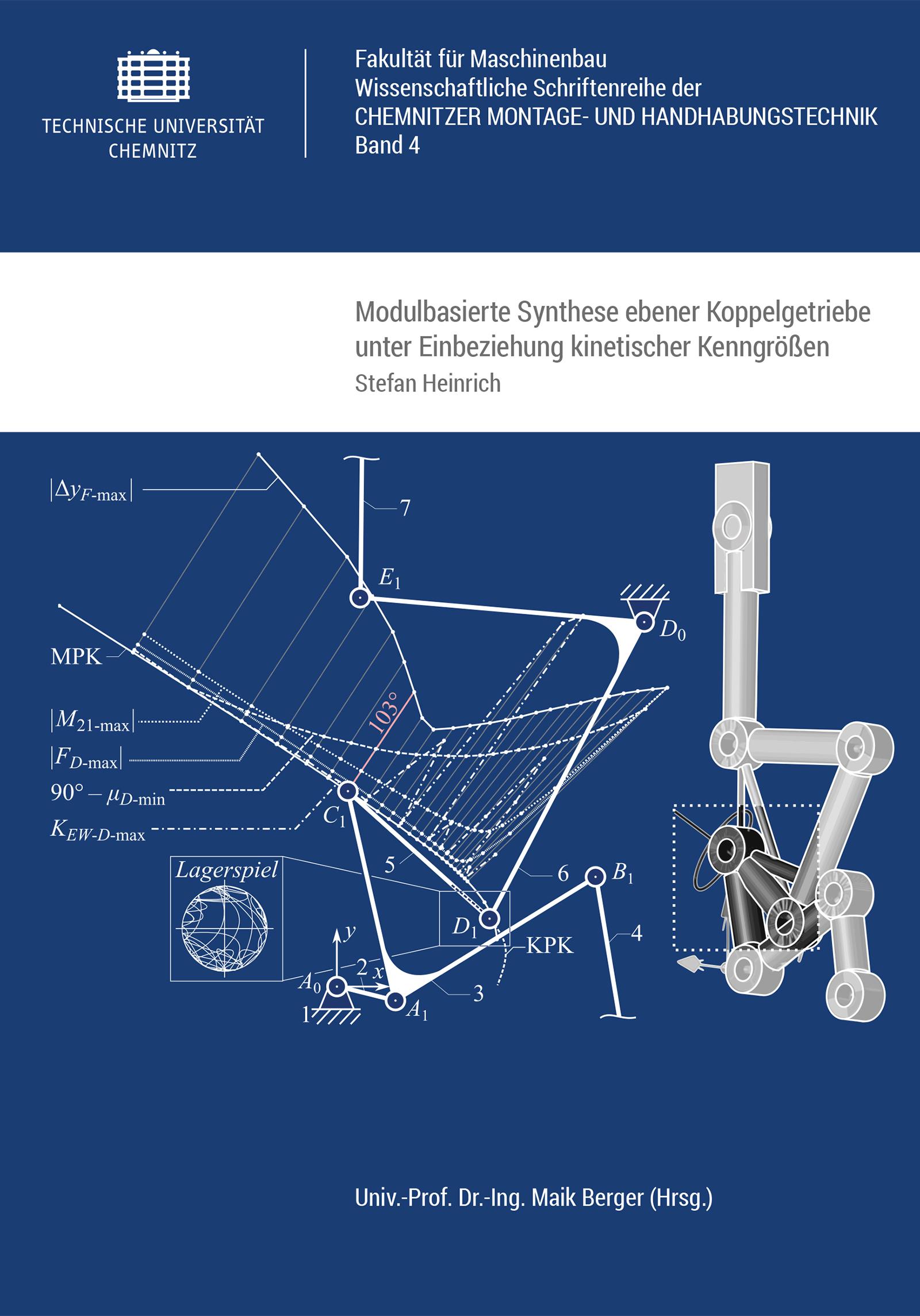 Cover: Modulbasierte Synthese ebener Koppelgetriebe unter Einbeziehung kinetischer Kenngrößen