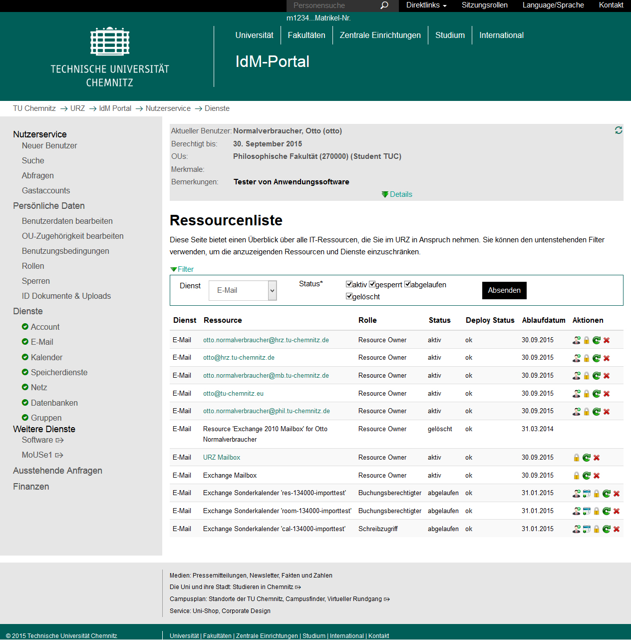 Screenshot Ressourcenliste IdM-Portal